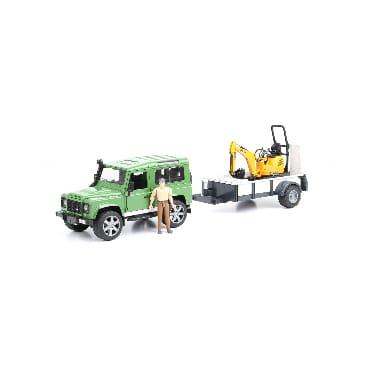Rotaļu Apvidus auto ar piekabi, mini ekskavatoru un cilvēku, Land Rover