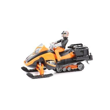 Rotaļu sniega motocikls ar vadītāju un aprīkojumu