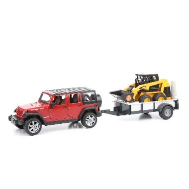 Rotaļu apvidus auto ar piekabi un Bobcat mini iekrāvēju, JEEP Wrangler