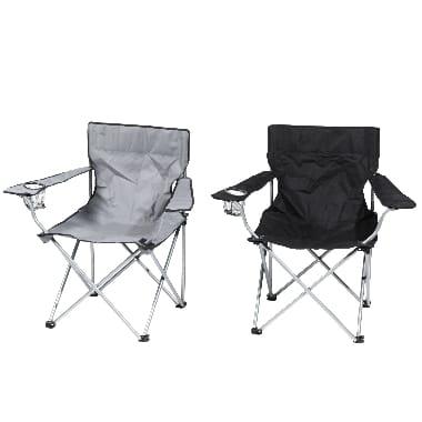 Kempinga krēsls Atom, melns un pelēks