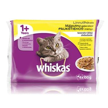 Kaķu barība ar mājputnu gaļu Whiskas, 4x100 g