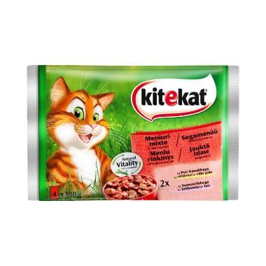 Kaķu barība ar vistu un lasi Kitekat, 4 gab.