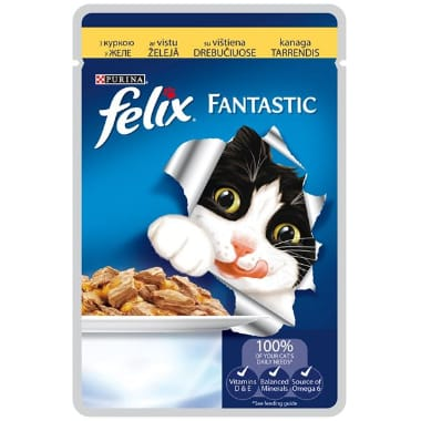 Kaķu barība ar vistu Felix, 100 g