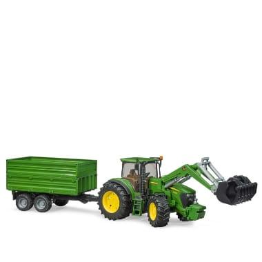 Rotaļu traktors ar frontālo iekrāvēju un piekabi, John Deere