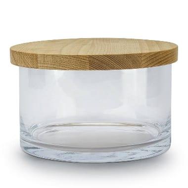 Stikla bļoda ar koka vāku, Ø 20 cm