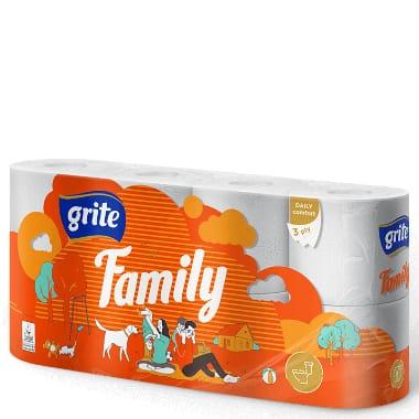 Tualetes papīrs Grite Family, 8 ruļļi