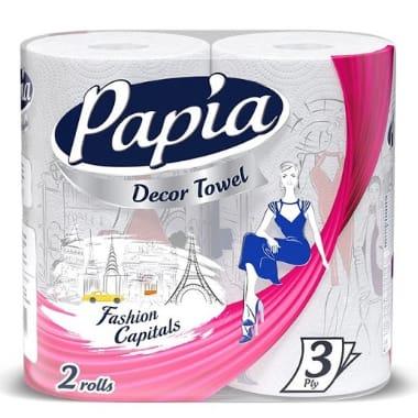 Papīra dvieļi Papia Decor, 2 ruļļi