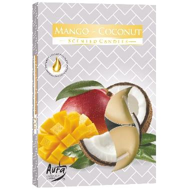 Aromātiskās sveces mango un kokosrieksts, 6 gab.