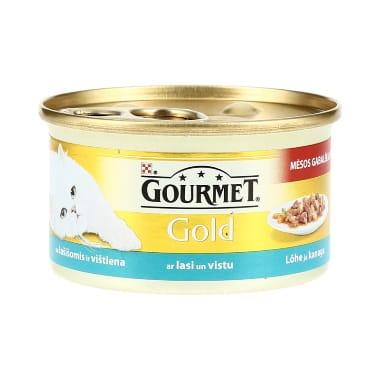 Kaķu konservi ar lasi un vistu Gourmet, 85 g