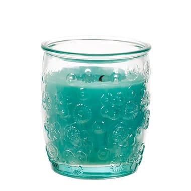 Svece stikla traukā zila, Spaas