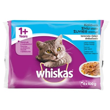 Kaķu barība zivju izlase Whiskas, 4x100 g