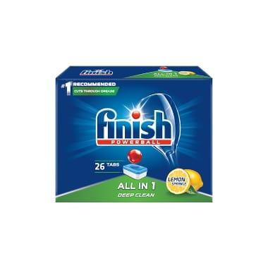 tabletes trauku mazgāšanas mašīnai Finish All in1 Lemon, 26 gab.