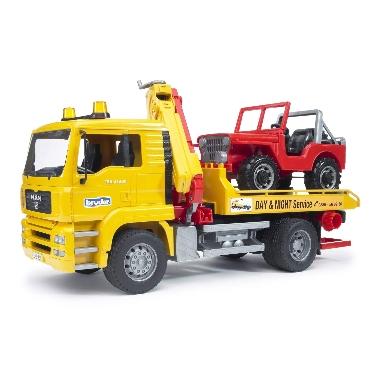 Rotaļu evakuators MAN TGA ar platformu un apvidus auto, Bruder