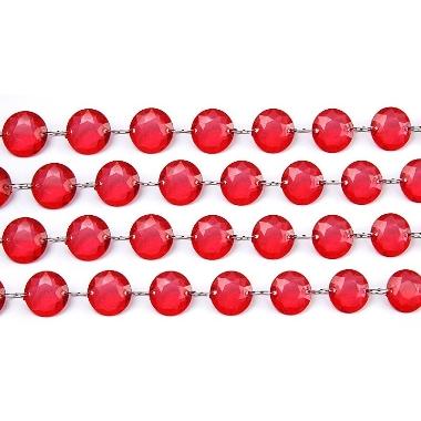 Kristāla virtene sarkana PartyDeco, 1 m