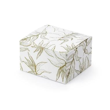 Dāvanu kastītes balta ar lapām, 10 gab.