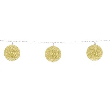 Kokvilnas bumbiņu virtene Finnlumor zelta, 10 LED
