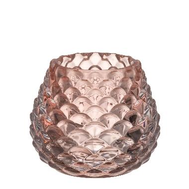 Stikla svečturis lāsīte rozā, 4Living