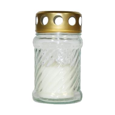 Vēja svece stikla traukā balta, Bispol