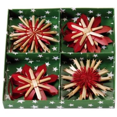 Dekors salmu zvaigzne, sarkana, Ø 6 cm, 8 gab.