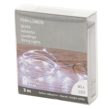 Lokana spuldzīšu virtene balta, 40 LED