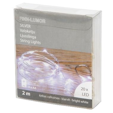 Lokana spuldzīšu virtene balta, 20 LED