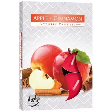 Aromātiskās sveces ābols/kanēlis, 6 gab.