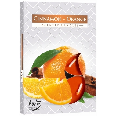 Aromātiskās sveces apelsīns/kanēlis, 6 gab.