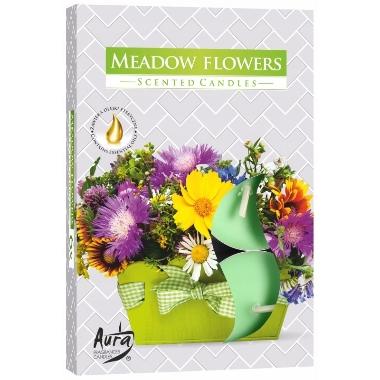 Aromātiskās sveces pļavas ziedu, 6 gab.