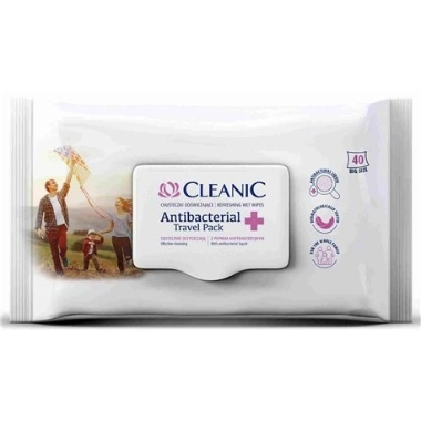 AntibakterIālas mitrās salvetes Cleanic, 40 gab.
