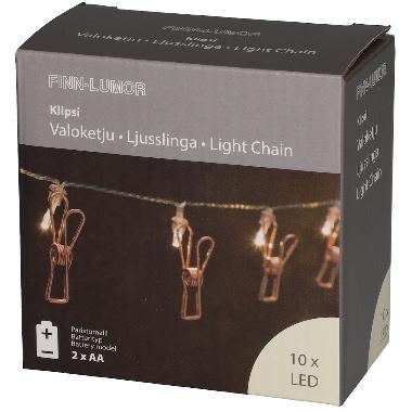 Spuldzīšu virtene knaģīši, 10 LED, 165 cm