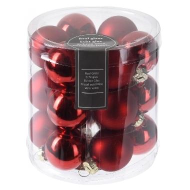 Ziemassvētku bumbiņas sarkanas, 18 gab.