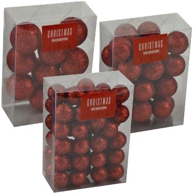 Dekori sarkanas bumbiņas ar gliteriem, S/M/L