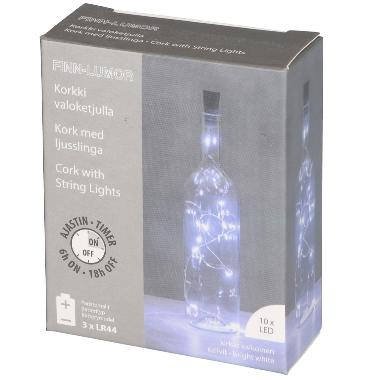 Pudeles dekors ar 10 LED lampiņām