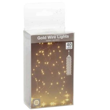 Spuldzīšu virtene Gold, silti balta, 40 LED