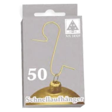 Āķi Ziemassvētku rotājumiem, zelta, 50 gab.