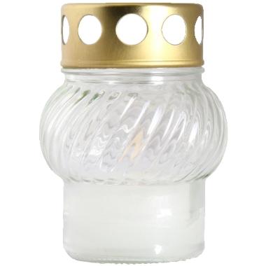 Vēja sveces stikla traukā, balta, 11 cm