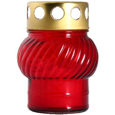 Vēja sveces stikla traukā, sarkana, 11 cm