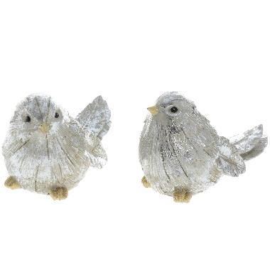 Dekors putniņš sudraba, 12,5 cm, 1 gab.
