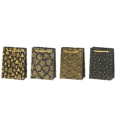 Dāvanu maisiņš ar zelta rotājumiem, 12x16 cm, 1 gab.