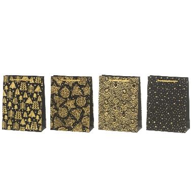 Dāvanu maisiņš ar zelta rotājumiem, 18x24 cm, 1 gab.