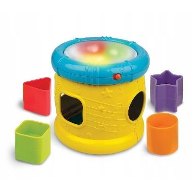 Attīstoša rotaļlieta, bungas ar gaismām, skaņu, formas klucīšiem