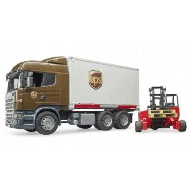 Rotaļu Scania R UPS ar iekrāvēju, Bruder