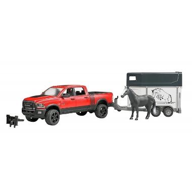 Rotaļu automašīna Dodge RAM ar zirgu piekabi, Bruder