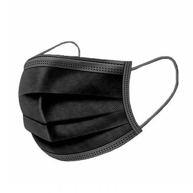Sejas aizsargmaska melna, 3 slāņu