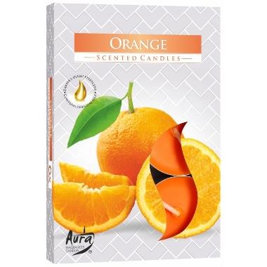 Aromātiskās sveces apelsīnu, 6 gab.