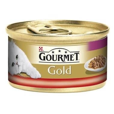 Kaķu pastēte ar liellopu un vistu, Gourmet Gold, 85 g