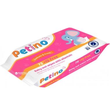 Mitrās salvetes bērnu Cleanic Petino, 72+12 gab.