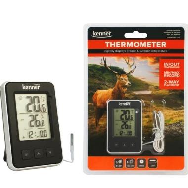 Iekštelpu un āra termometrs + pulkstenis, Kenner DT-310C