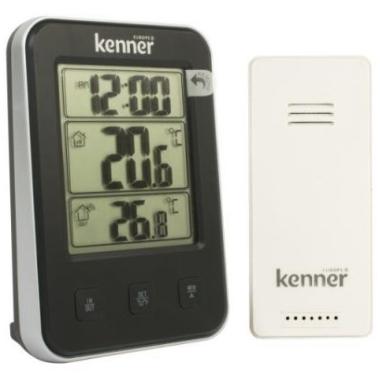Iekštelpu un āra termometrs + pulkstenis, Kenner DT-311W