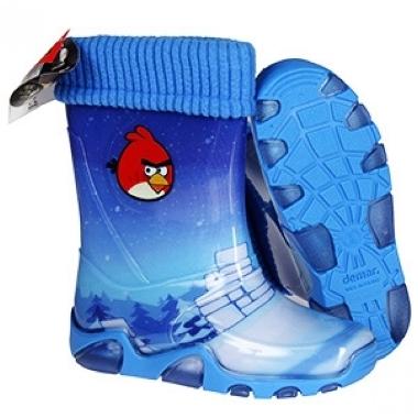Gumijas zābaki ar siltinātu oderi Angry Birds, zili
